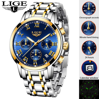 LIGE New Watches Men Luxury Brand Chronograph Men Sports Watches Waterproof All Steel Quartz Men's Watch Relogio Masculino+Box luxury leather gift box pacific angel shark sport watch 24hrs chronograph luminous steel water resistant men watches sh315 319