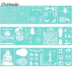 Chzimade Halloween Festival Self-Adhesive Silk Screen Printing Stencil Mesh Transfers 28X21CM For T-Shirts Pillow Diy Crafts