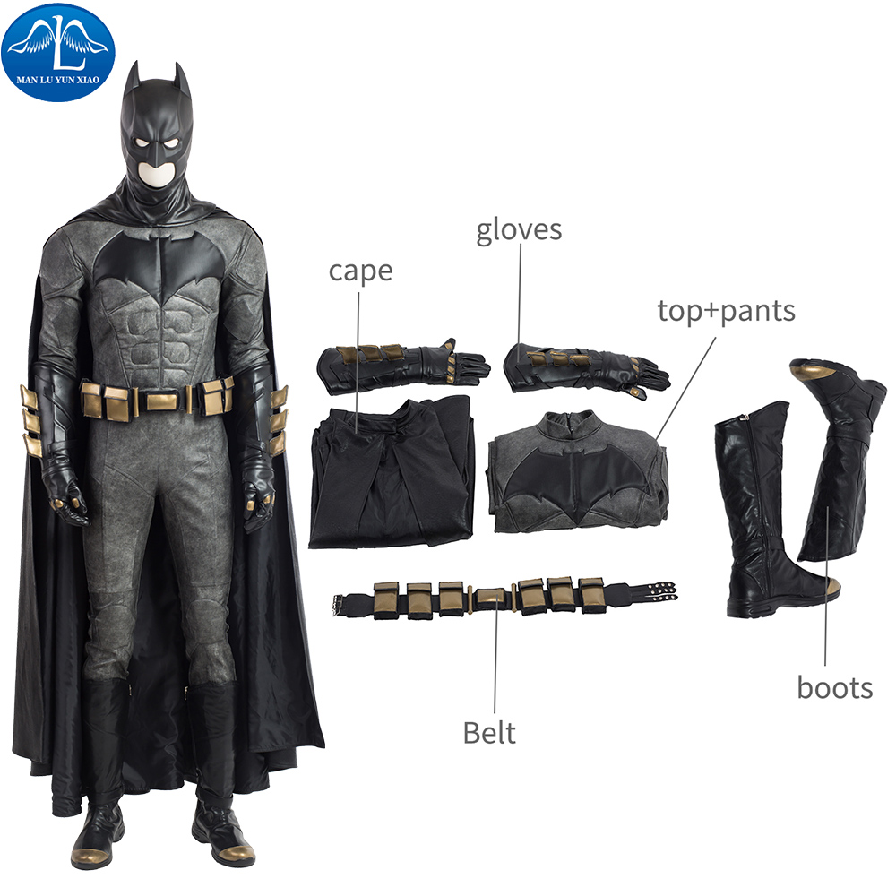 ManLuYunXiao Batman Cosplay  Justice League Suits Superhero Jumpsuits Halloween Costume For Men Masquerade Outfit Custom Made