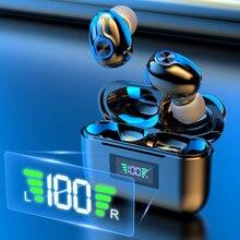 Bluetooth Беспроводной наушники светодиодный Мощность Дисплей Шум отмена 9D стерео Водонепроницаемый спортивные наушники с микрофоном