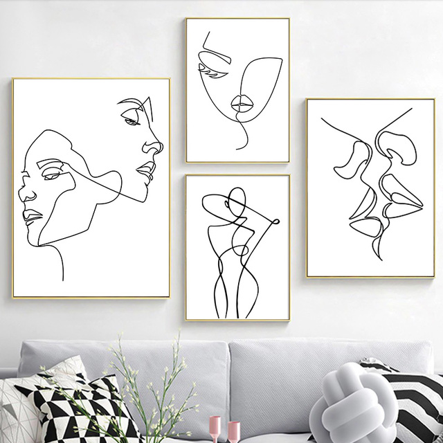 Nordic Minimalist  Figures Line Art Sexy Woman Body Nude Wall Canvas Paintings Drawing Posters Prints Decoration for Livingroom 1