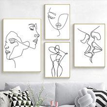 Figuras minimalistas de estilo nórdico para mujer, pósteres de dibujo de Arte De Línea, pinturas de lienzo para pared, sexys, Nude, decoración para sala de estar