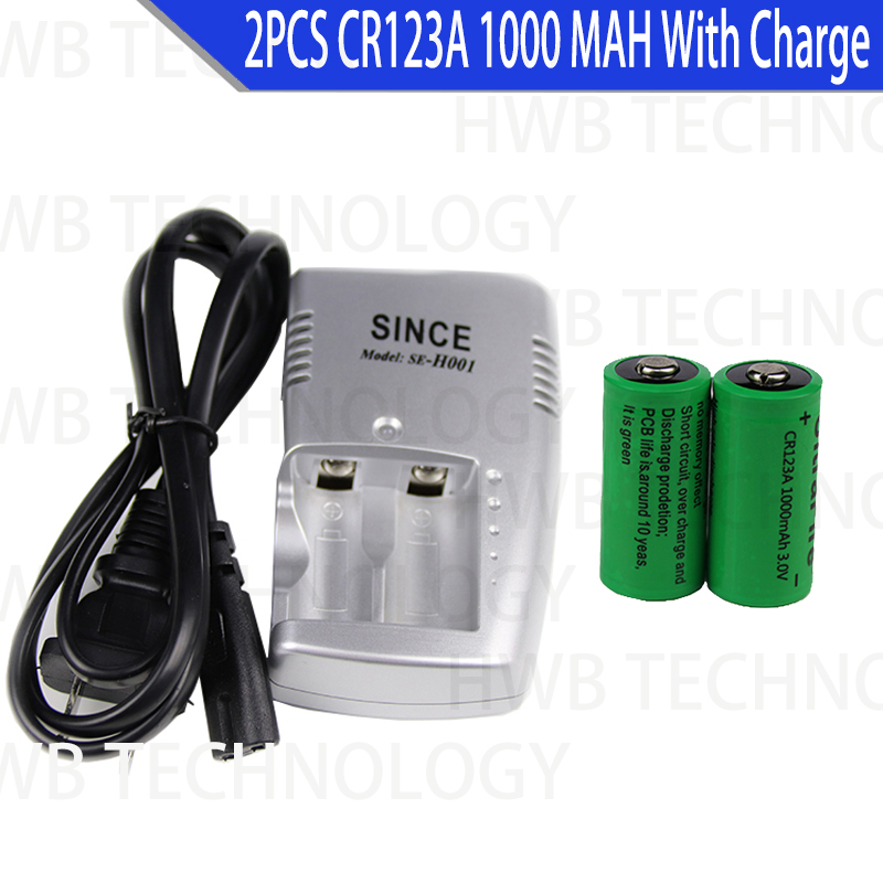 2 x CR123A 3.0v 1000mAh CR123 16340 <font><b>17335</b></font> Rechargeable Battery + CR123A CHARGER image