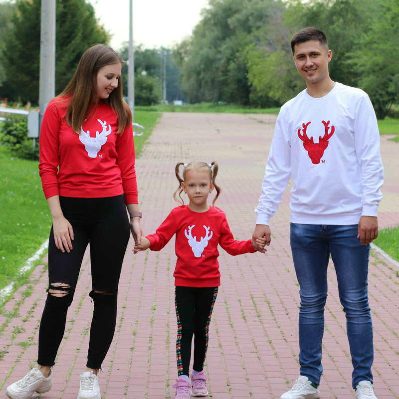 2019 Christmas Deer Cotton T-shirt Mother Daughter Father Baby Clothes Matching Family Clothing Sets Family Look Mommy And Me
