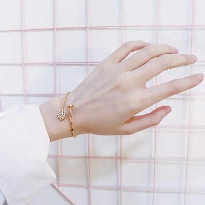 FUNIQUE ฤดูร้อนหรูหราสร้อยข้อมือหัวใจ Rhinestone เปิดทองเงินสร้อยข้อมือกำไลข้อมือผู้หญิงเครื่องประดับอุปกรณ์เสริม