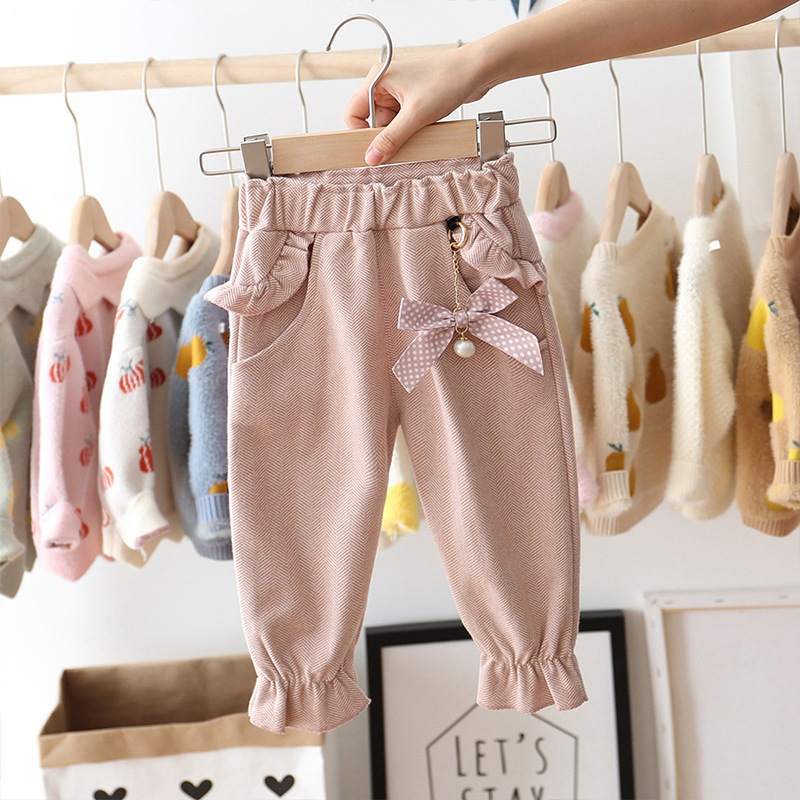 Closeout Deals2019 Autumn Baby Girls Kids Pants Dot Polka Bow Ruffles Casual Trousers Infants Children Clothes Wear Princess Long Pant S9692