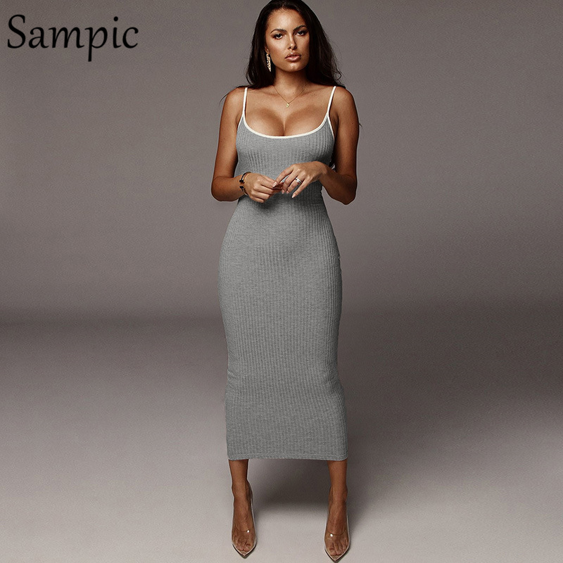 Sampic Sexy Woman Party Club Casual Backless Bodycon Dress Strap Sleeveless Wrap Long Summer Dress 2019
