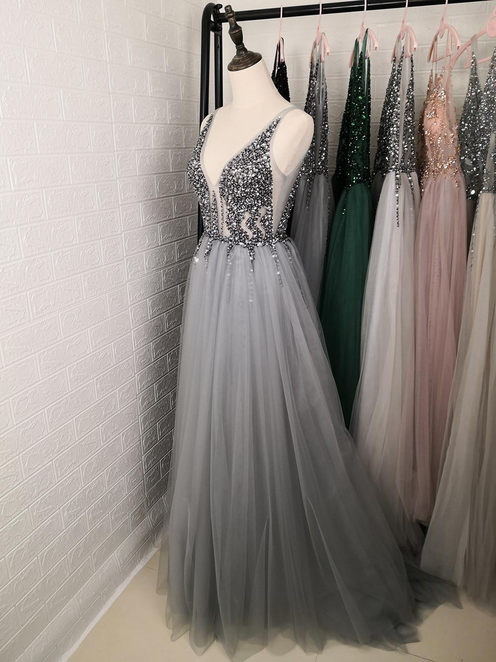 Сексуальное длинное вечернее платье с глубоким v-образным вырезом и разрезом сбоку, Новое поступление года, блестящее платье с высоким разрезом и открытой спиной, Abendkleider Lang - Цвет: dark gray