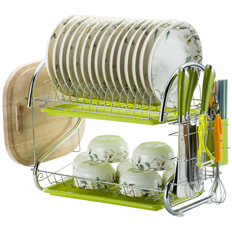 Modern Three-layer Draining Dish Rack Large Capacity Multifunctional Drain Kitchen Storage Dishes Chopsticks Knife Holder Racks image