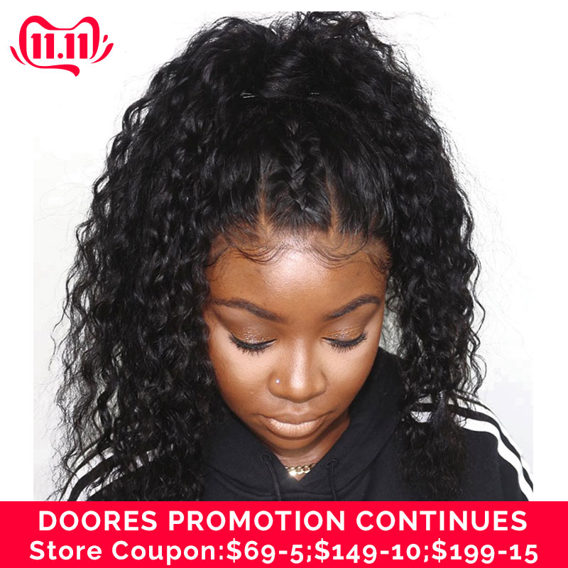Doores Hair 13x6 Loose Deep Curly Human Hair Wig Remy Fake Scalp Wig Bob Lace Front Human Hair Wigs Full Lace Human Hair Wigs