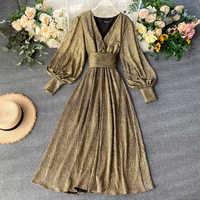 Vintage Party Dress Women Slim Puff Sleeve Sexy V Neck Long Robe New 2019 Fashion Autumn Bright Golden Bandage Dresses Vestidos