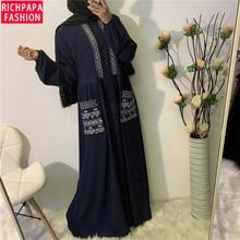 女性カジュアル刺繍ボタンとポケット長袖マキシイスラム教徒アバヤ七面鳥ロングイスラム教徒ドレスカフタン