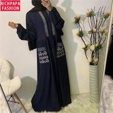 ผู้หญิงลำลองปักปุ่มกระเป๋าแขนยาว Maxi ชุดมุสลิมอิสลาม Abaya ตุรกียาวชุดมุสลิม Kaftan