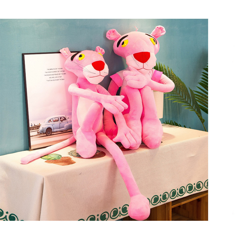 60cm cute naughty pink leopard plush toy doll baby companion toy home decoration in Stuffed Plush Animals from Toys Hobbies