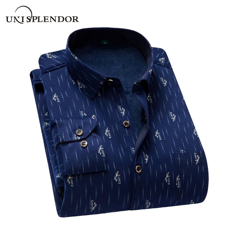 Autumn Winter Men's Shirts Warm Thicken Printed/Plaid/Polka Dot Men Shirt Soft Casual Man Shirt Plus Size Plus Velvet YN10528