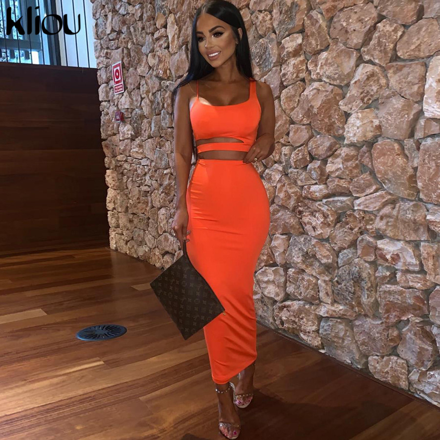Kliou <font><b>women</b></font> solid color strapless hollow out crop top high waist elastic skinny long <font><b>skirts</b></font> <font><b>two</b></font> <font><b>pieces</b></font> <font><b>set</b></font> female fashion outfit image