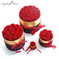 Eterna rosa en caja y Real flores color de rosa con caja de la mejor madre día regalo romántico Día de San Valentín regalos venta al por mayor