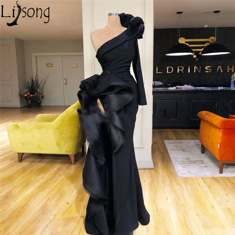 Sexy High Slit Black Mermaid Evening Dress Long Sleeve One Shoulder Ruffles Chic Prom Dresses Arabic Abiye Women Formal Gowns