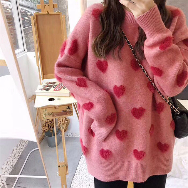 Sweater women's loose jacket fall winter love pullover long sleeve lazy style net red fashion retro knit top 2020 New hot sale 2