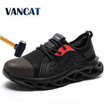 Zapatos de seguridad de punta de acero para hombre, zapatos ligeros de malla transpirable para hombre, zapatos de trabajo antigolpes para hombre, zapatos de protección Industrial