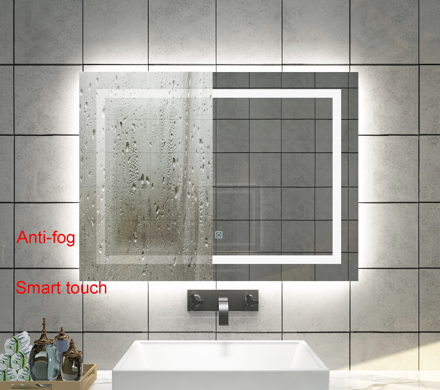 Diyhd Wall Mount Led Lighted Bathroom Mirror Vanity Defogger Square Lights Touch Light Mirror Led Wall Mount Mirror Square Bathroom Mirrorwall Bathroom Mirror Aliexpress