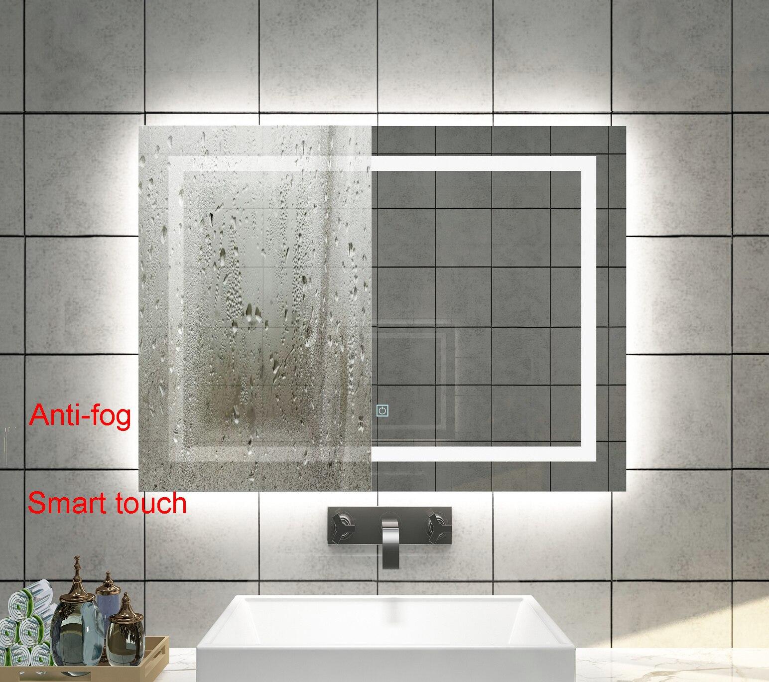 Diyhd Wall Mount Led Lighted Bathroom Mirror Vanity Defogger Square Lights Touch Light Mirror Led Wall Mount Mirror Square Bathroom Mirrorwall Bathroom Mirror Aliexpress