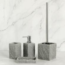 Bathroom Accessories Set Imitati Granite Resin Iiquid Soap Dispenser Toothbrush Holder Cup Soap Dish Toilet Brush Holder