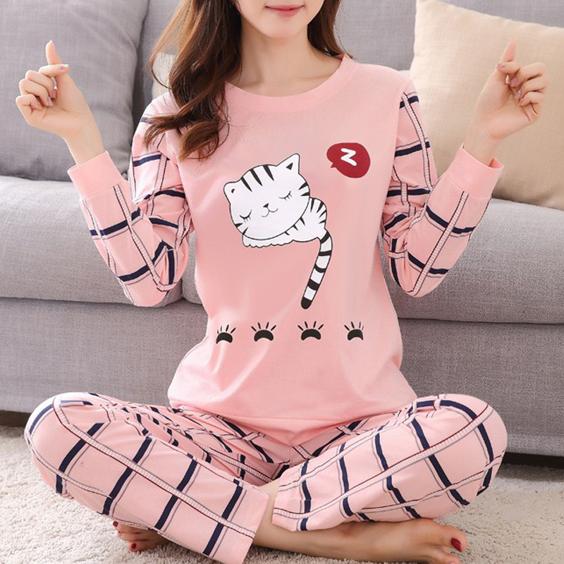Cartoon Pijamas  Large Size Cute Pyjamas Top And Pants Warm Pajama Set Women Winter Long-sleeved Sleepwear Trousers