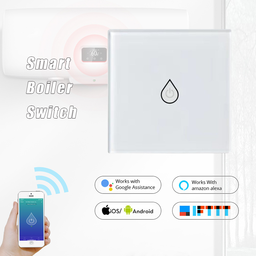 Wifi Smart Boiler Switch EU Plug Hands-free Voice Control Home Smart Timing Switch Via Alexa/Google Home Waterproof&Safe Panel