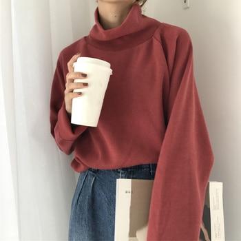 2020 primavera otoño tejer Casual suéter suelto mujeres cuello alto de punto suéteres mujer manga de murciélago Streetwear jerseys