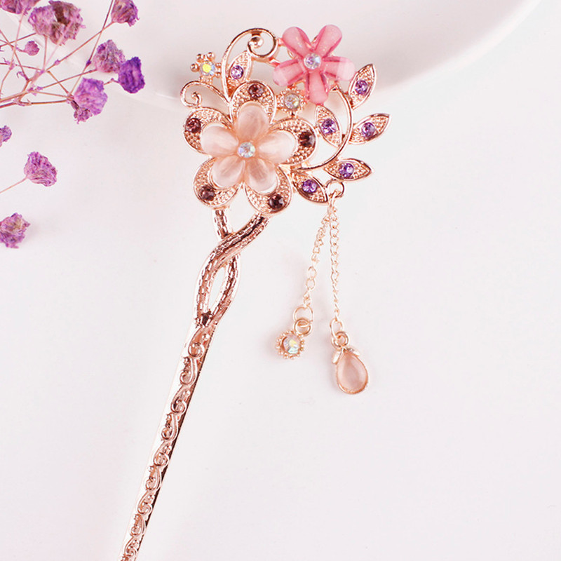 1PCS Cat Eye Stone Hair Pin Double Flower Hair Clip Classical Hairpin Barrette Hair Accessories National Wind Headweard