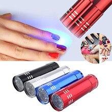 1 sztuk profesjonalny żel suszarka do paznokci lampa UV przenośny Mini LED latarka do paznokci żel 15s szybkoschnące Cure Nail Art suszarka narzędzia