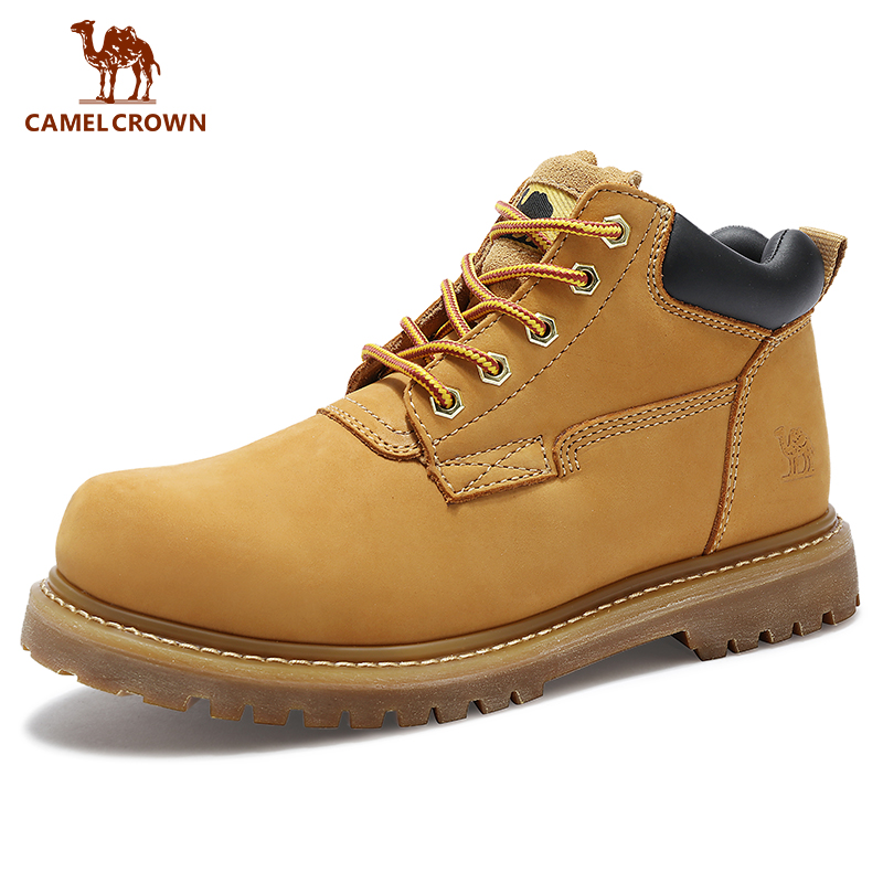 CAMEL Outdoor Boots  Men Shoes Leather Military Army  Waterproof Outdoor Mountain Climbing Trekking Tool  Shoes  Uk
