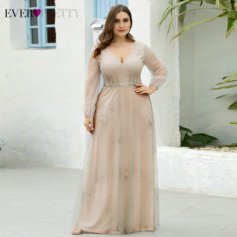 Plus Size Sparkle Prom Dresses Ever Pretty EP00844GY A-Line V-Neck Full Sleeve Sequined See-Through Tulle Party Gowns Vestido