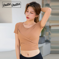 Lace Solid Crop Top Gym Shirts Women Breathable Workout Clothes Fitness Running Sport Tshirts Quick Dry Training Tops