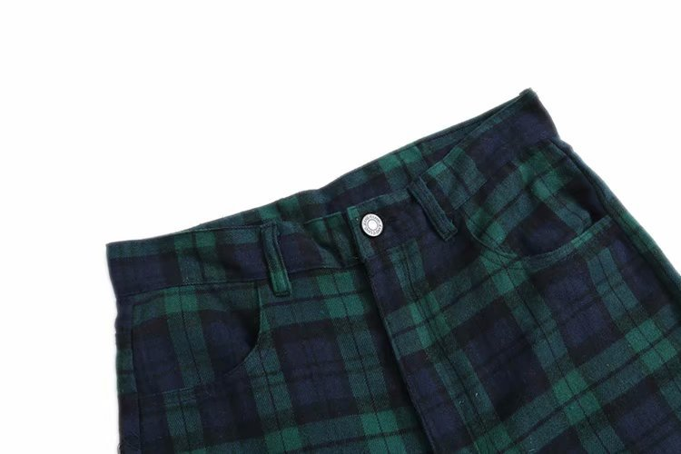 Europe And America New Style WOMEN'S Dress-Style Popular Green Plaid INS Retro High-waisted Straight-leg Pants H1010