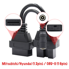 Adaptörü Mitsubishi/Hyundai (12pin) OBD II (16 pin) OBD2, konnektör, adaptör, konnektör dişi teşhis kablosu