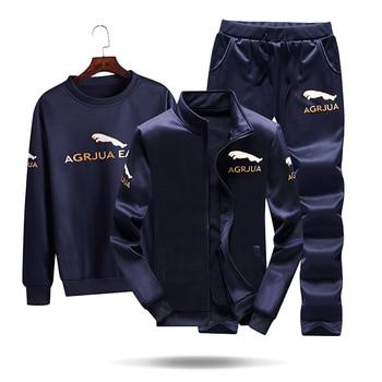 Tracksuits Men Polyester Sweatshirt Sporting Fleece Gyms Autumn Jacket + Pants+sweatershirt Casual Men's Suit Sportswear Fitness 3