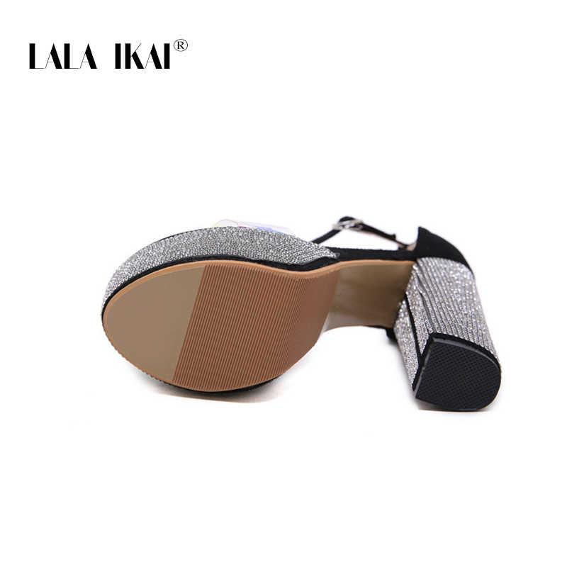 LALA IKAI yeni kadın platform sandaletler Rhinestone kristal tıknaz yüksek topuklu bir bant burnu açık sandalet kadın ayakkabı XWC6538-4