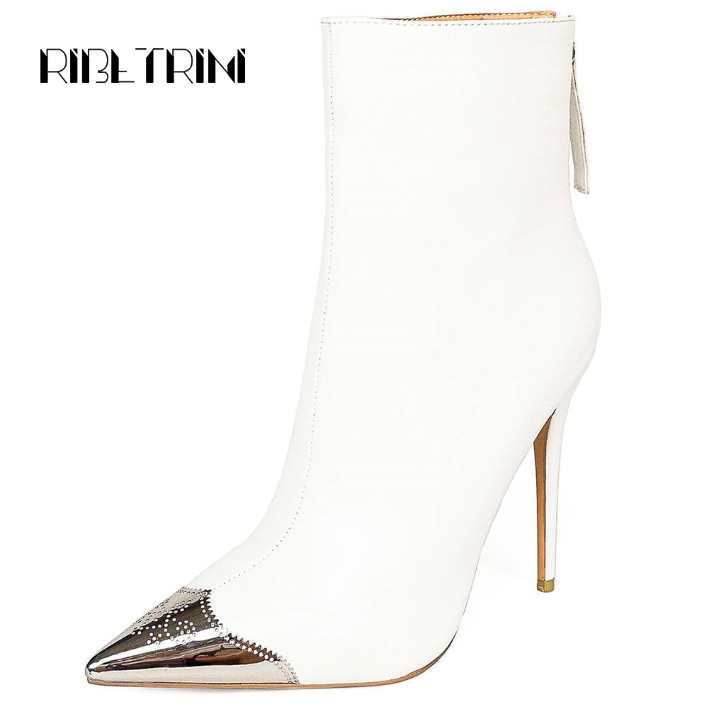 RIBETRINI Metal Pointed Toe Boots Women 2019 Sexy Thin High Heel Shoes Woman Party Work Dress Microfiber Mid Calf Boots Big Size
