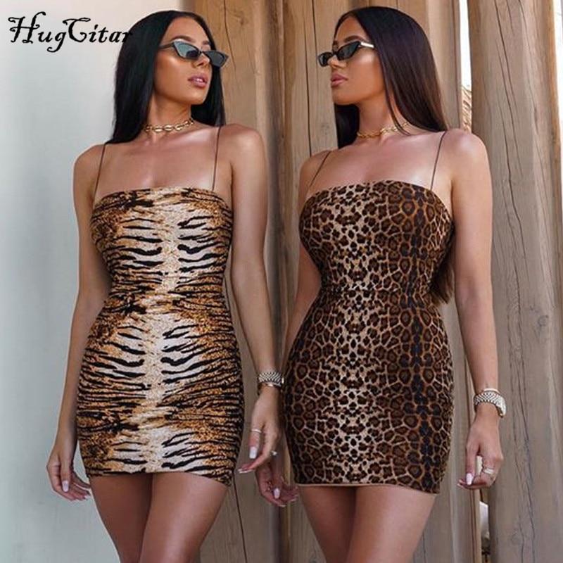 Hugcitar 2019 Leopard Print Slash Neck Sleeveless Tube Slip Mini Dress Autumn Women Party Club Bodycon Outfits Streetwear