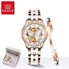 Olevs Automatische Horloge Vrouwen Luxe Keramische Stalen Band Skeleton Mechanische Horloge Vrouwen Armband Horloges Rose Gold Montre Femme