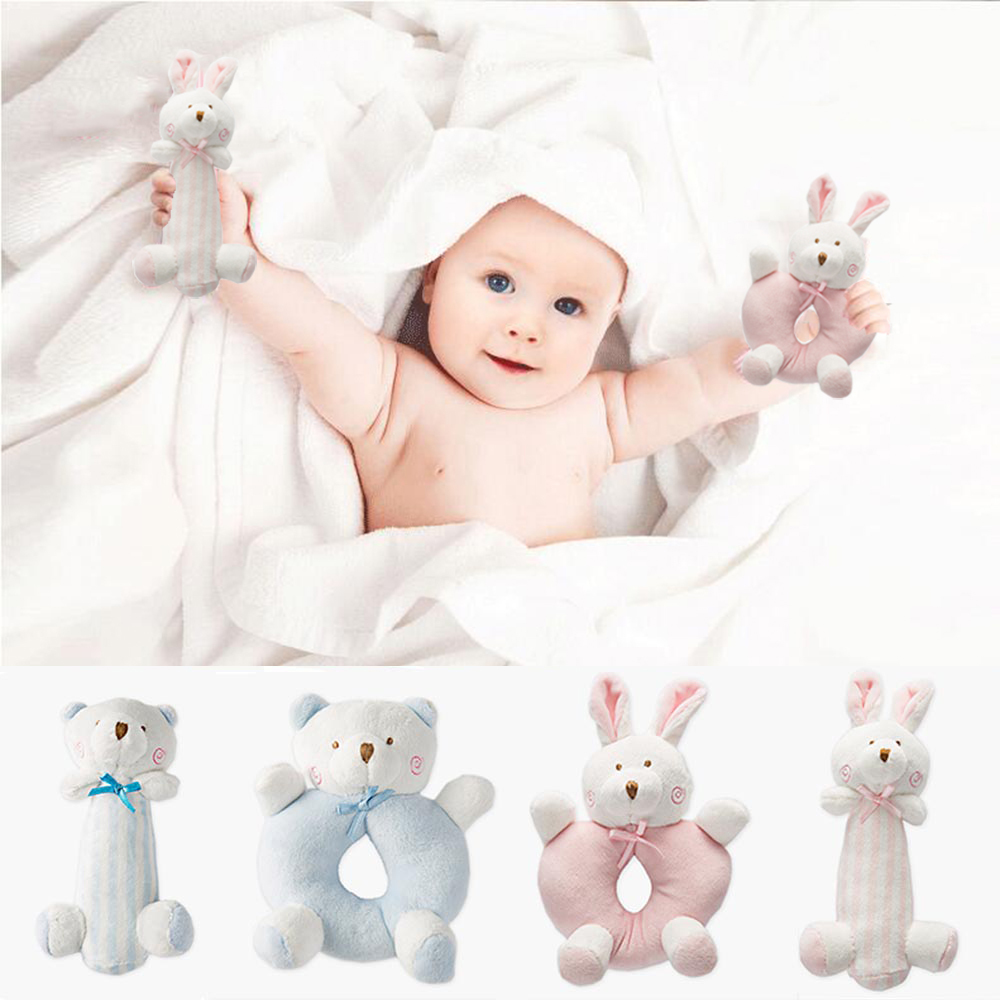 Cute Baby Rabbit Bear Plush Rattle Newborn Ring Bell Hand Toys Soft Mobiles Infant Crib Dolls Peluche Hochet Brinquedos