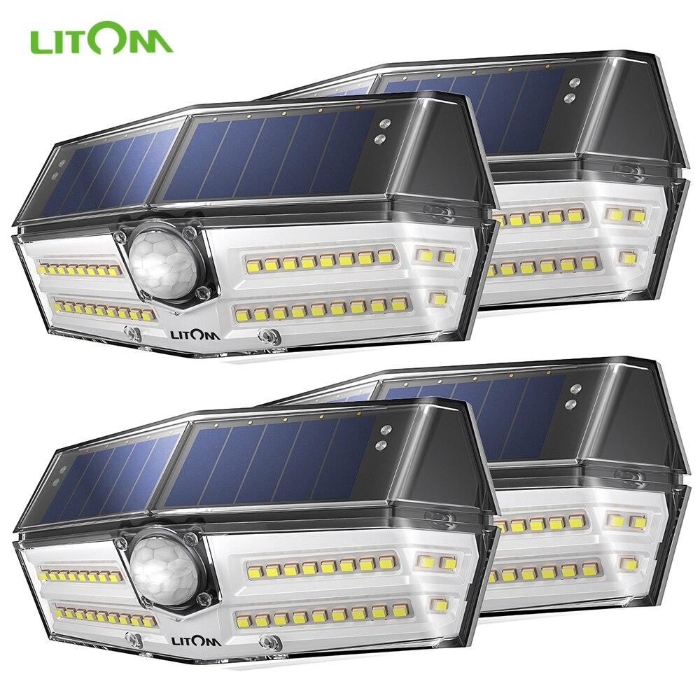 4 Pack 40 LED Solar Lights LITOM CD182 Outdoor Motion Sensor High-efficient Solar Panel Lamp IP66 Luz Solar Led Para Exterior