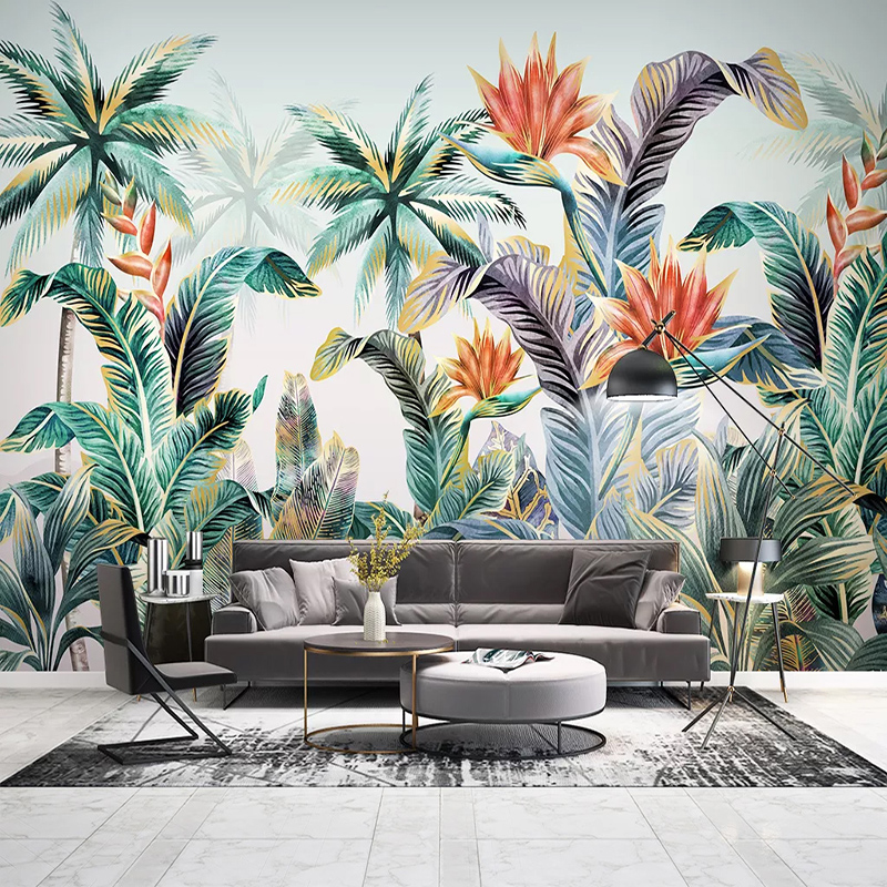 Custom 3D Photo Wallpaper Hand Painted Nordic Tropical Plant Green Leaves Large Mural Living Room Bedroom Non Woven Wallpaper