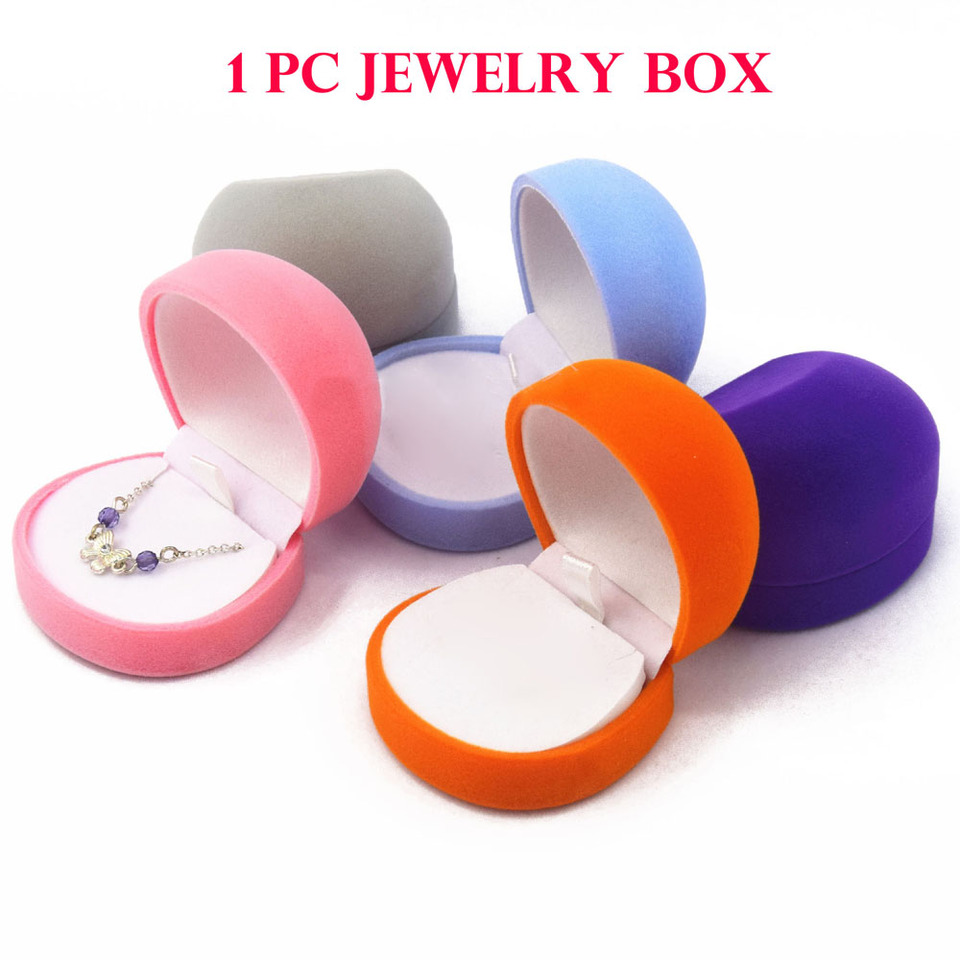 Cute Velvet Ring Earrings Necklace Present Gift Boxes Jewelry Display Packaging
