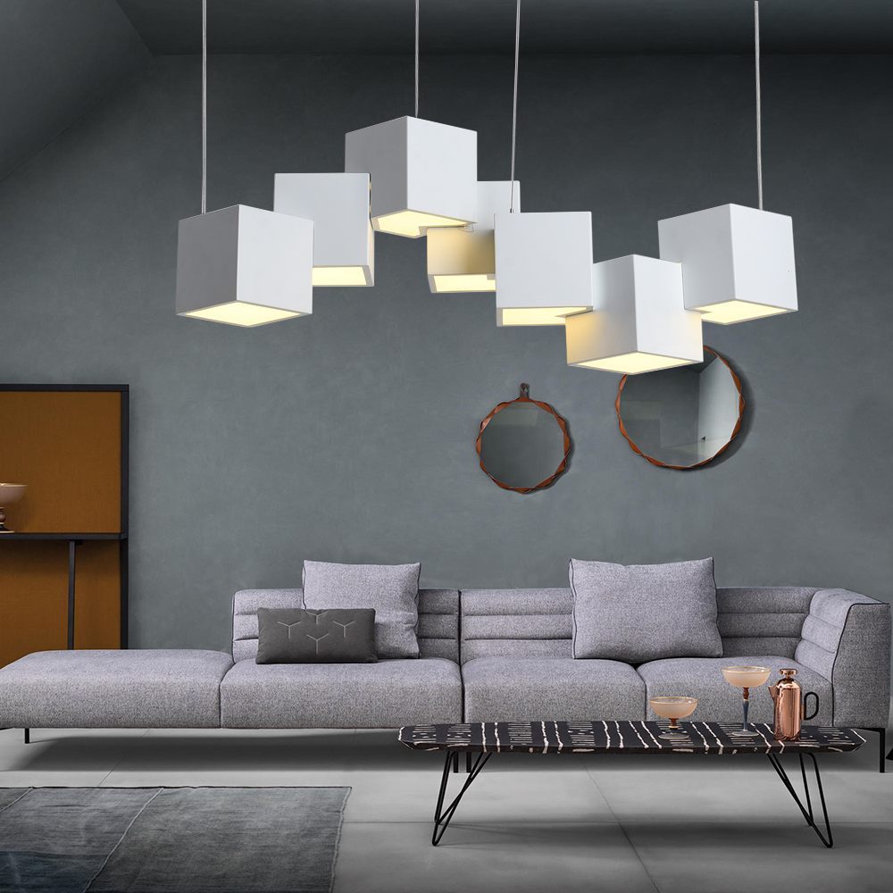 Artpad Dim Magic Cube Led Creative Pendant Light 7/8 Head Ceilng Hanging Lamp 35/40W For Dining Room Living Room Light Fixture