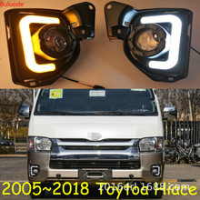 2pcs LED 12V ABS Car fog Lamp DRL Daytime Running Light For Toyota Hiace 2014 2015 2016 2017 2018 with Turn Signal стоимость