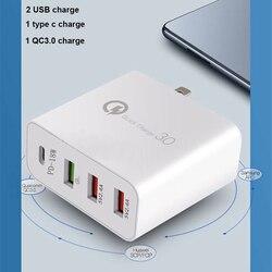 48W 4 porty ładowarka typu C qc3.0 type-c ładowarka USB do Samsung iPhone Huawei QC 3.0 szybka ładowarka ścienna usa ue UK AU wtyczka Adapter