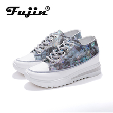 Fujin women vulcanized shoes platform sn
